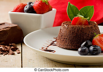 Chocolate dessert with berries - photo of delicious...
