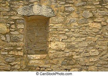 viejo, piedra, pared, witn, nicho