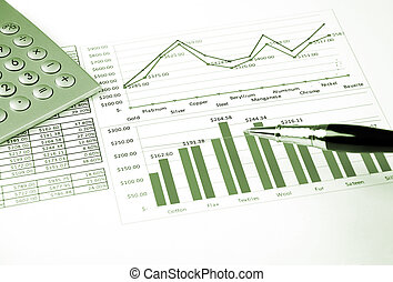 Calculator charts and pen, success in busines - calculator,...