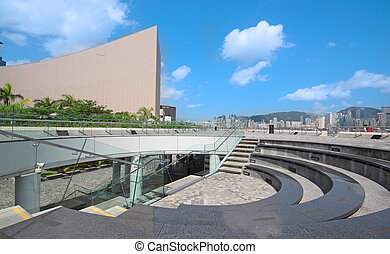 Architecture structure of Hong Kong Cultural Centre over blue sky