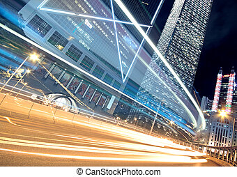 Night Light trace modern architecture background in...