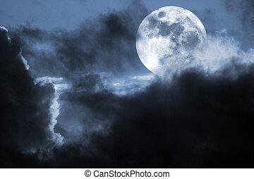 Moonlight - Illustration of an interesting full moon in a...
