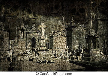 Halloween grunge cemetery - Halloween grunge and scary...