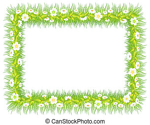 frame with grass and flowers - frame with green grass and...