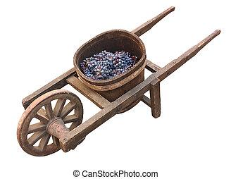 antigas, uva, transporte, carrinho de mão