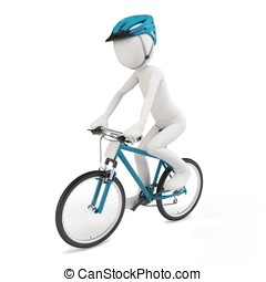 3d man riding a competition bike isolated on white