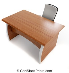 3d office desk with chair