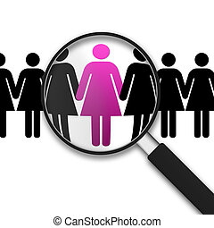 Magnifying Glass and women - Magnifying Glass with Clipart...