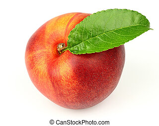 Juicy peach with leaves