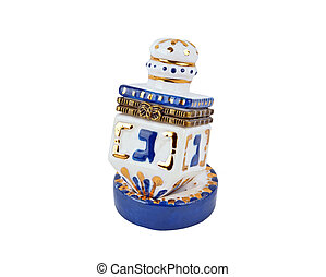 Ceramic hanukkah dreidel, isolated on a white background