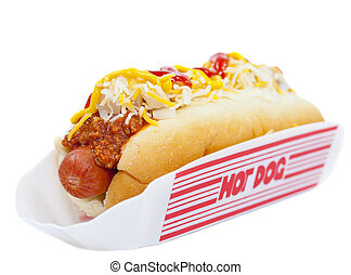 Chili dog - Hot dog with chili, raw onion and sauce on white
