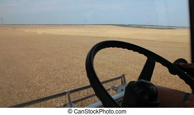 farmer driving combine harvester