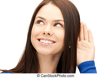 woman listening gossip - bright picture of young woman...