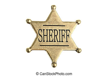 Six point sheriff star badge - Classic western metal sheriff...