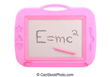 Magnetic drawing board E=mc2 - E=mc2 written on a pink...