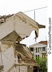 After earthquake - Damaged house after strong earthquake...