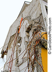Earthquake concrete - Detail of ruined house after...