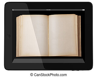 Generic Tablet Computer and book - Digital Library Concept