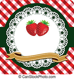 Strawberry label - Red strawberry label on lace frame and...