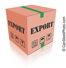 exportación, envío, carboard, caja, paquete