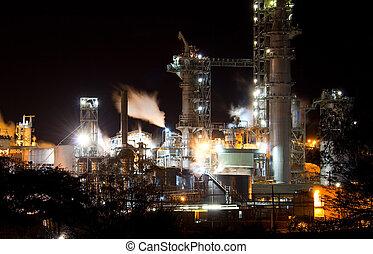 industrial, noche, vista