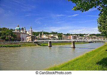 Veiw on Salzach river and Salzburg