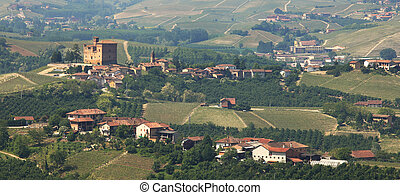 Panoramic view on village and old castle in Italy -...