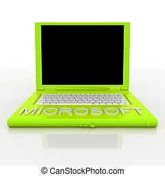 Laptop computer with word microsoft on it - 3D blank laptop...
