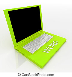 Laptop computer with word on it