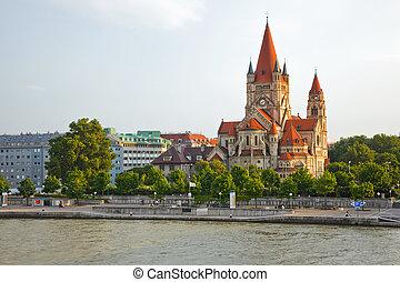 church on Danube River, Vienna - Mexicoplatz church on...