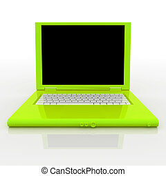 Laptop computer - 3D blank open laptop computer isolated...