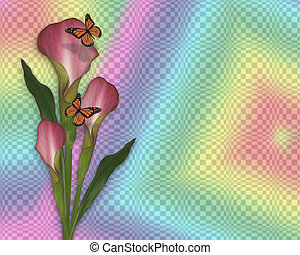 Calla lily and butterflies rainbow - Image and illustration...