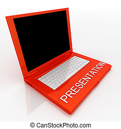 Laptop computer with word presentation on it - 3D blank...