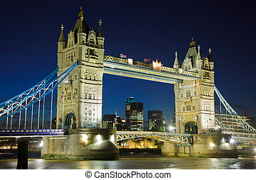 Tower Bridge at night, London - View on Tower Bridge at...