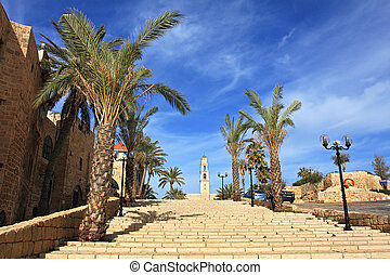 Old Yaffo. - Stairs, old stone houses and church in historic...