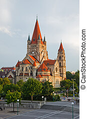 church on Danube River, Vienna - Mexicoplatz church on...