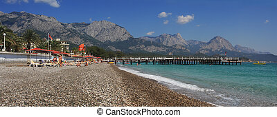 Panoramic view on Kemer beach - Panoramic view on public...