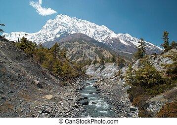 Marsyangdi river, Tibet. - Marsyangdi river, pass through...
