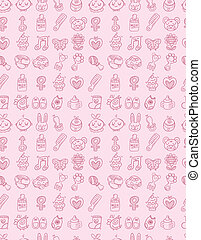hand draw baby seamless pattern