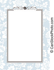 Vector Blue Floral Pattern and Ornament Frame