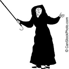 old woman with a crutch
