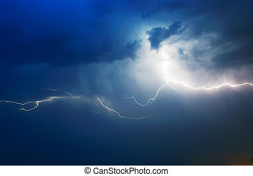 Lightning in dark sky Composition of nature