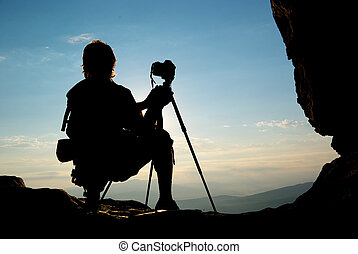 Silhouette of photographer