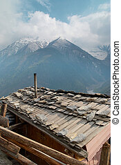Tibetan village in Himalayan mountain. - Tibetan village in...