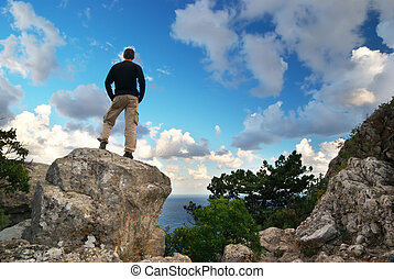 Man on top of mountain Conceptual design