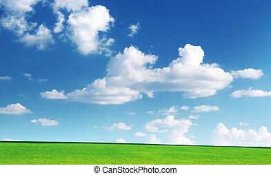 césped, nublado, cielo