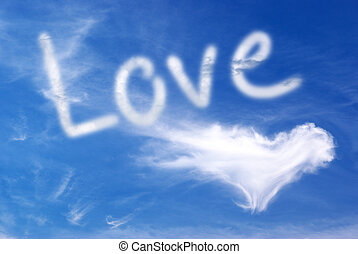 Love in sky - Love and heart in blue sky Element of design