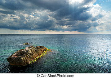After the storm. - Heavy clouds on sea. Nature composition.