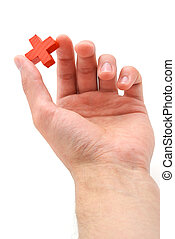 Red cross in hand Element of design