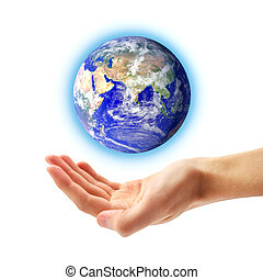 Planet Earth and human hand Conceptual design